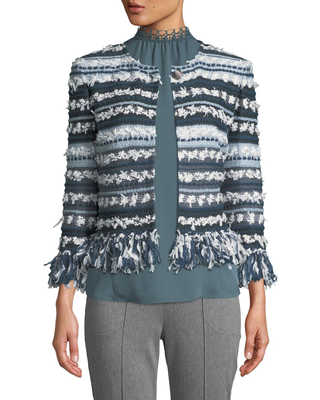 Lofty Flagged Stripes Knit Jacket, Green Pattern