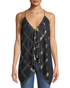 Stretch-Silk Georgette V-Neck Sequined Top