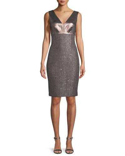 Twisted Sequin Knit V-Neck Dress