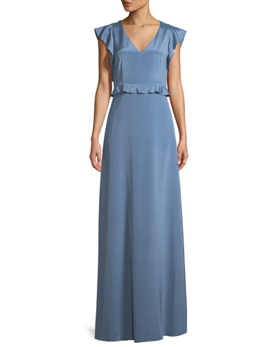 Stretch Crepe de Chine Flutter-Sleeve Gown