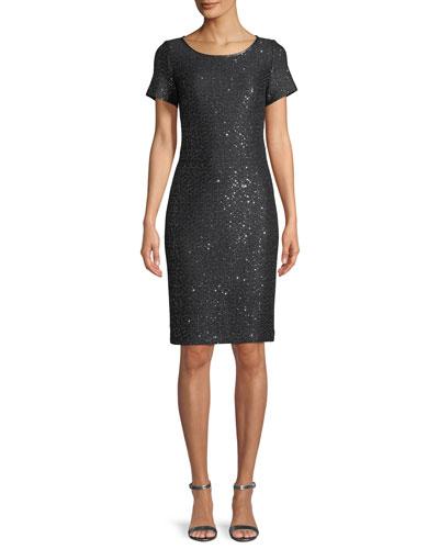 Sparkle Sequin Cutout-Back Cocktail Dress