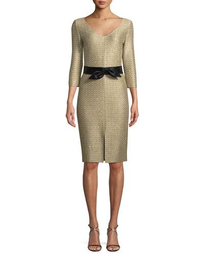 Glamour Sequin Knit V-Neck Dress