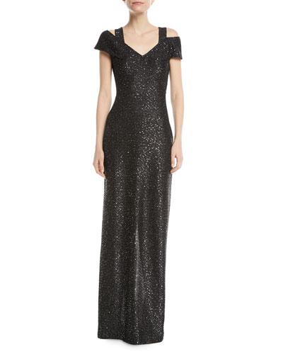 Sparkle Knit Sequin Cold-Shoulder Evening Gown
