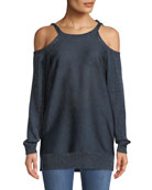 Glitter Jersey Knit Cold-Shoulder Sweater