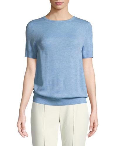 Jersey Knit Wool Short-Sleeve Sweater