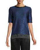 Lightweight Paillette Knit Top w/ Silk Trim