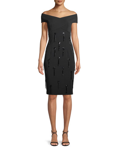 Stretch Crepe Off-the-Shoulder Dress with Hanging Tassels