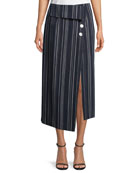 Flap-Front Striped Cotton Midi Skirt