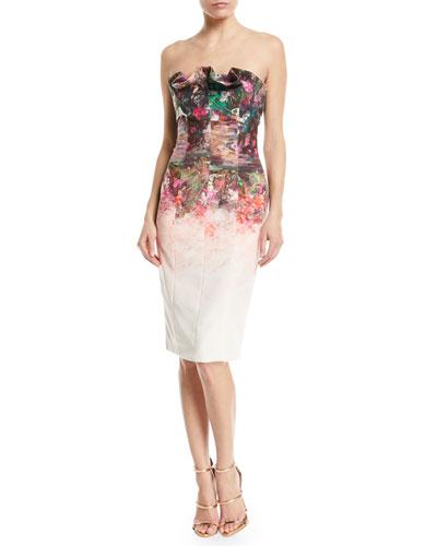 Allysandro Strapless Ruffle-Trim Cocktail Dress