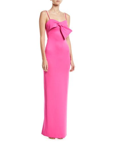 Monroe Sleeveless Column Gown w/ Bow Detail