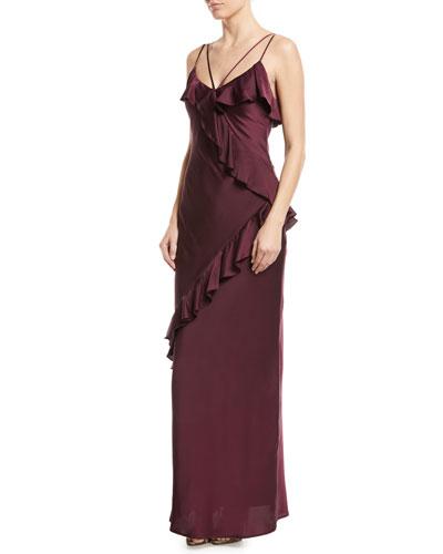 Kylie Satin Asymmetric Ruffle Gown
