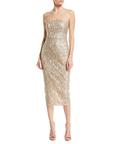 Emily Strapless Metallic Lace Back-Ruffle Cocktail Dress