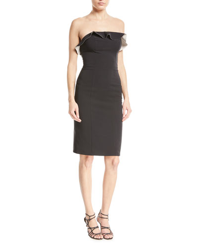 Stacey Techno Strapless Ruffle Cocktail Dress