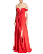 Off-the-Shoulder Draped Chiffon Corset Gown