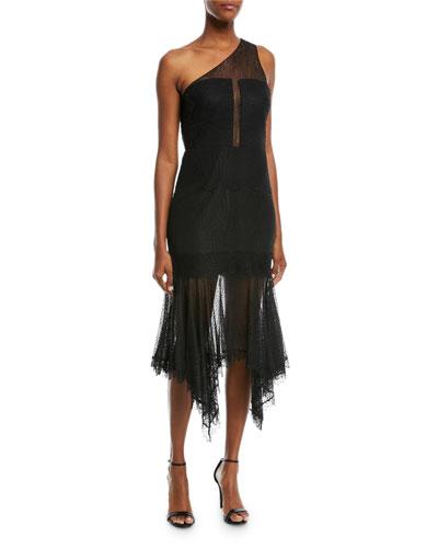 One-Shoulder Lace Handkerchief Cocktail Dress