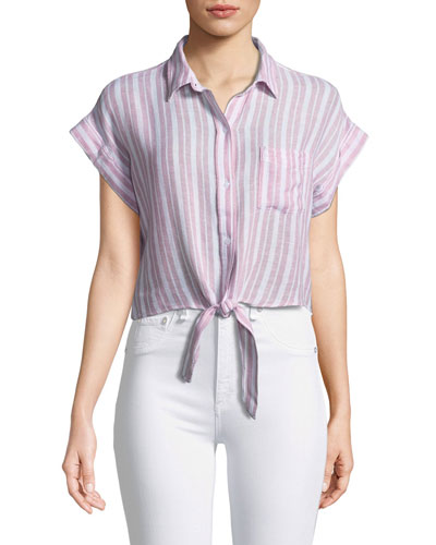 Amelie Striped Linen Button-Down Top
