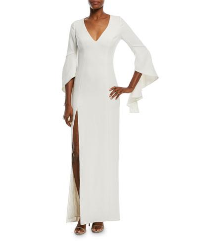 Flounce-Sleeve V-Neck Gown