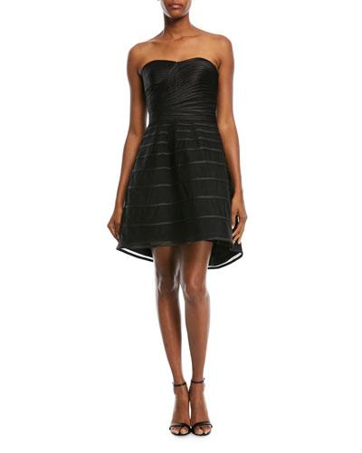 Strapless Striped Cocktail Dress