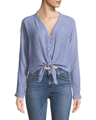 Sloane Striped Linen Top