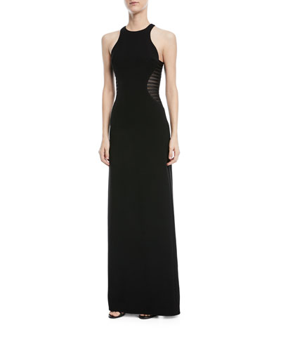 Side Striped Appliqué Halter-Neck Gown