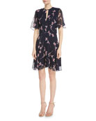 Masha Floral Chiffon Flutter-Sleeve Dress