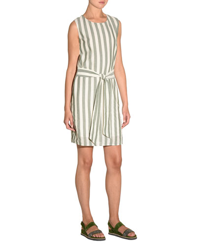 Striped Self-Tie Cotton Mini Dress
