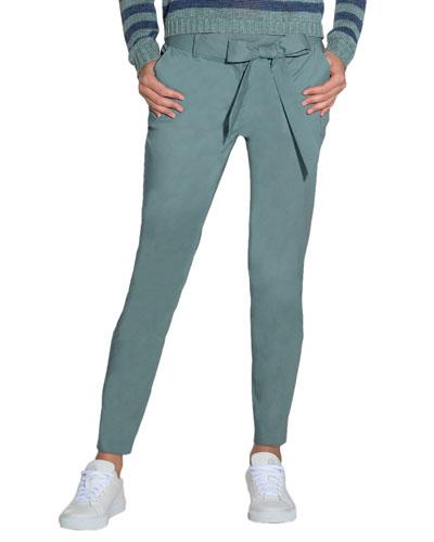 Sash Bow-Belt Slim-Fit Pants