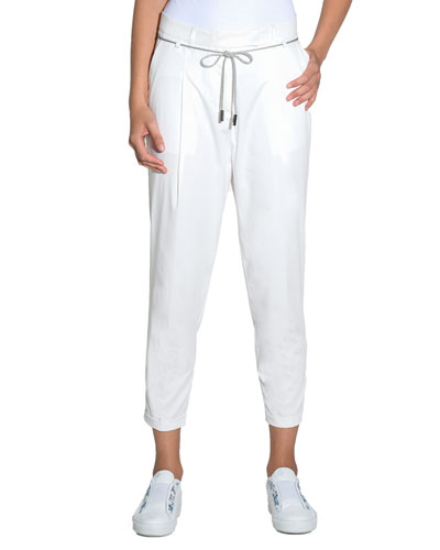 Cropped Self-Tie Cotton Pants