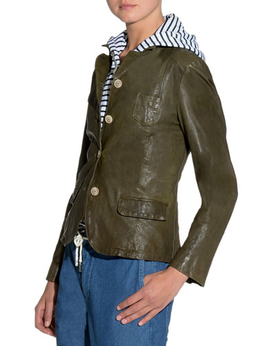 Washed Button-Front Leather Jacket