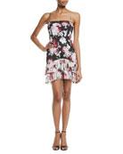 Oksana Two-Tone Tier Floral Bustier Dress