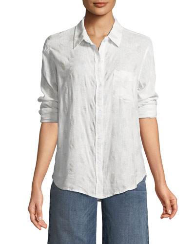 Charli Button-Down Linen-Blend Shirt with Pineapples