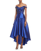 High-Low Mikado Gown w/ Bead Embroidered Bodice