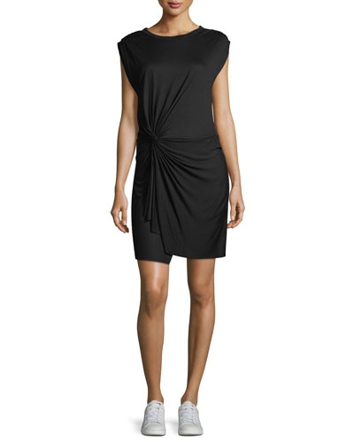 Elsie Crewneck Cap-Sleeve Knotted Jersey Dress