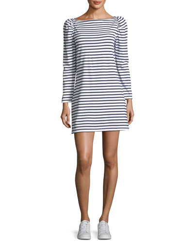 Stevens Boat-Neck Long-Sleeve Striped A-Line Dress