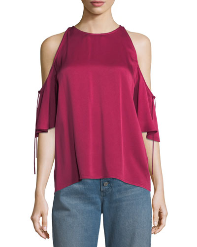 Fredo Crewneck Cold-Shoulder Satin Top