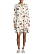 Rori Long-Sleeve Drop-Waist Floral-Print Silk Dress