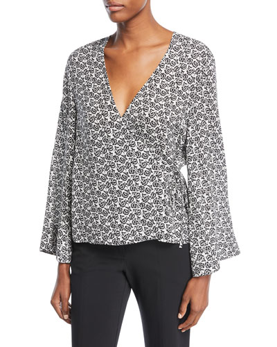 A.L.C Ray Deep-V Bell-Sleeve Printed Silk Top, White Pattern