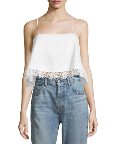 Bassett Cropped Lace-Hem Cotton Cami Top