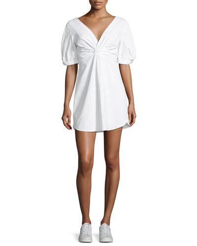 Mirren Twist-Front Linen-Blend Dress