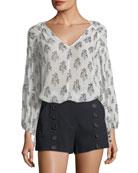 A.L.C. Chantal V-Neck Long-Sleeve Silk Top and Matching