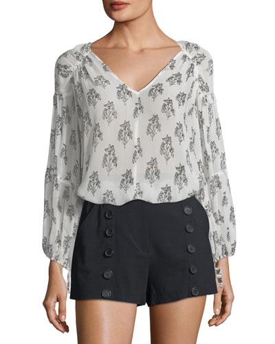 Chantal V-Neck Long-Sleeve Silk Top