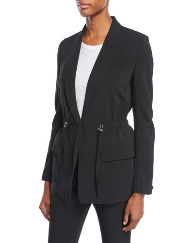 Collins Peak-Lapel One-Button Drawstring-Waist Jacket