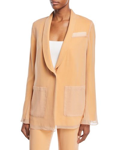 Vreeland One-Button Silk Layered Blazer