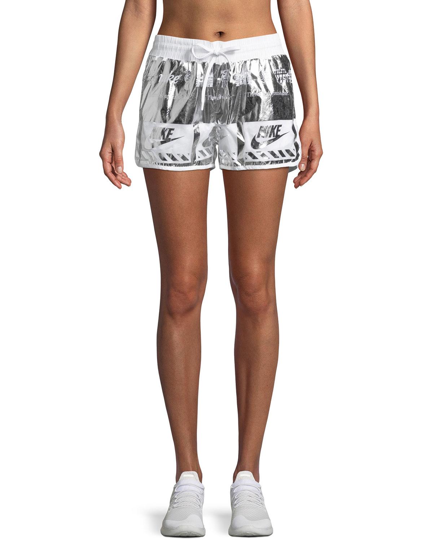 Metallic Printed Drawstring Athletic Shorts
