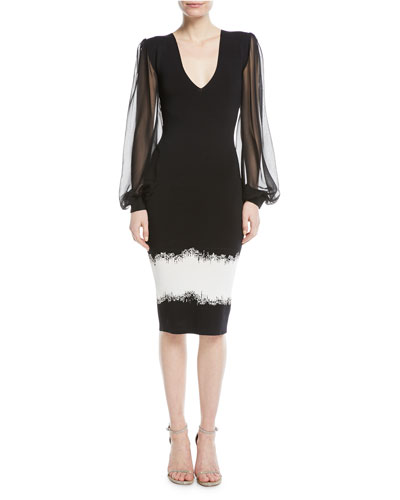 Mosaic V-Neck Silk-Sleeve Cocktail Dress