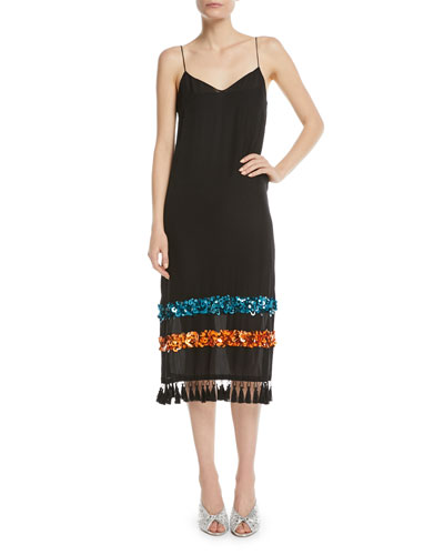 Bosphoru Sequin Banded Tassel Slip Dress