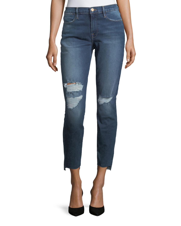Le High Skinny-Leg Jeans with Raw Hem