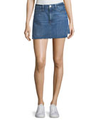 Le Mini Denim Skirt with Released Hem