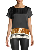 Rustem Silk Short-Sleeve Sequin Tassel Top