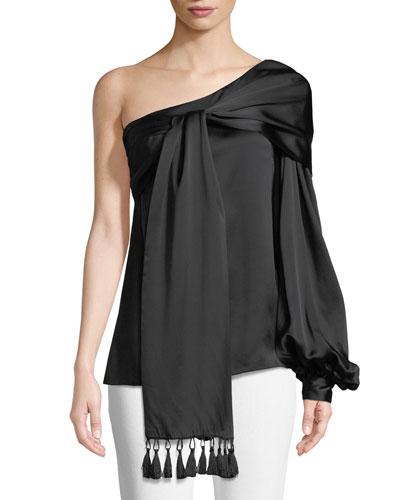 Pasa One-Shoulder Silk Tassel Blouse